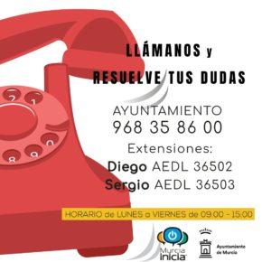 El Centro de Iniciativas Municipales 'Murcia Inicia' atiende a cerca de 200 usuarios durante el estado de alarma