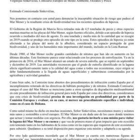 Ciudadanos pide a la Comisión Europea que intervenga en la crisis del Mar Menor
